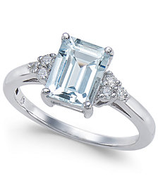 Aquamarine (1-5/8 ct. t.w.) & Diamond (1/8 ct. t.w.) Ring in 14k White Gold
