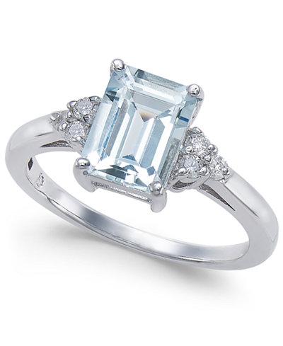 Aquamarine (1-5/8 ct. t.w.) & Diamond (1/8 ct. t.w.) Ring in 14k White Gold