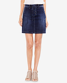Vince Camuto Lace-Up Denim Mini Skirt