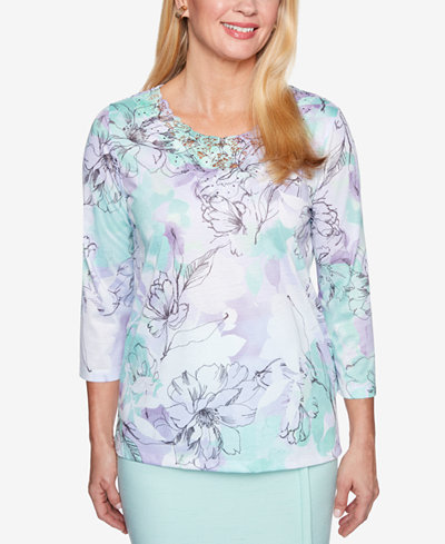 Alfred Dunner Roman Holiday Printed Lace-Neck 3/4-Sleeve Top