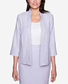 Alfred Dunner Petite Roman Holiday Embellished Diamond-Cutout Jacket