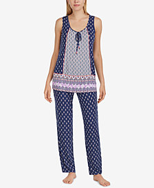 Ellen Tracy Sleeveless Printed Pajama Set