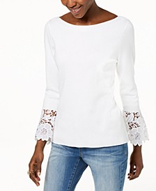 INC Lace-Cuff Bell-Sleeve Sweater, Created for Macy's