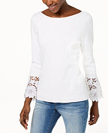 I.N.C. Petite Lace-Cuff Sweater, Created for Macy's