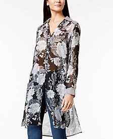 I.N.C. Petite Mixed-Print Semi-Sheer Tunic Shirt, Created for Macy's