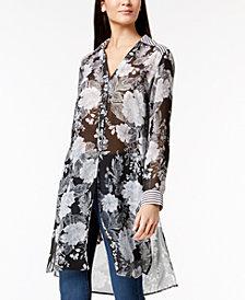 I.N.C. Mixed-Print Tunic Blouse, Created for Macy's