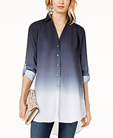I.N.C. Dip-Dyed Button-Front Tunic, Created for Macy's