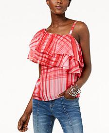 I.N.C. Printed One-Shoulder Ruffled Top, Created for Macy's
