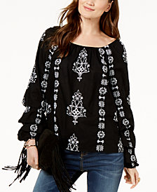 I.N.C. Embroidered Tiered-Sleeve Cotton Peasant Top, Created for Macy's
