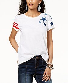 I.N.C. Cotton Star-Patch Striped-Print T-Shirt, Created for Macy's
