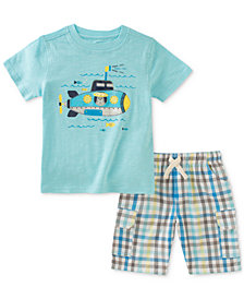 Kids Headquarters 2-Pc. Submarine-Print T-Shirt & Plaid Cargo Shorts Set, Baby Boys