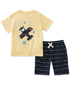 Kids Headquarters 2-Pc. Graphic-Print Cotton T-Shirt & Striped Shorts Set, Baby Boys