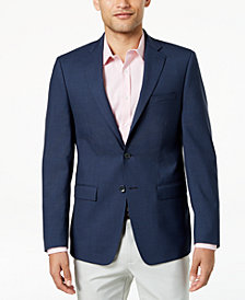 Calvin Klein Men's Slim-Fit Navy/Black Check Wool Sport Coat