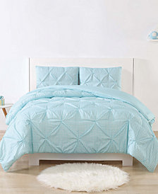Laura Hart Kids Printed Gingham Pinch Pleat 2-Pc. Twin/Twin XL Duvet Cover Set