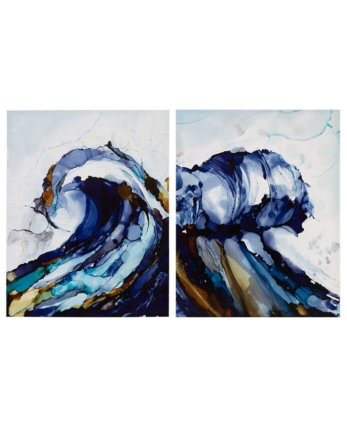 "JLA Home - Madison Park 'Liquid Waves' 22"" x 28"" Gel-Coated 2-Pc. Canvas Wall Art Set"