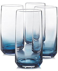 Hotel Collection Blue Ombre Set of 4 Highball Glasses, Created for Macy's