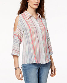 Style & Co Cold-Shoulder Striped Shirt, Created for Macy's