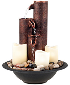 Pure Garden Tiered Column Tabletop Fountain with LED Lights & Candles