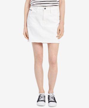 CALVIN KLEIN JEANS Denim Mini Skirt in White