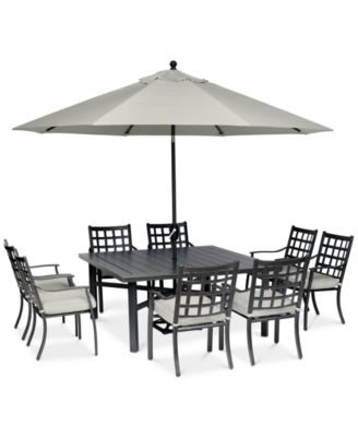 """Highland Aluminum Outdoor 9-Pc. Dining Set (64"""" Square Dining Table and 8 Dining Chairs) with Sunbrella® Cushions, Created for Macy's"""