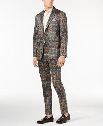 Tallia Orange Men's Modern-Fit Olive Printed Suit Separates