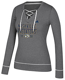adidas Women's Nashville Predators Skate Lace Long Sleeve T-Shirt