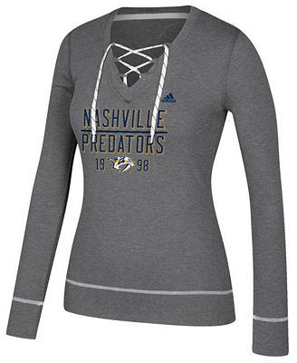 adidas Women's Nashville Predators Skate Lace Long Sleeve T-Shirt