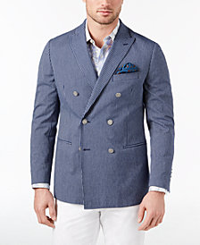 Tallia Orange Men's Modern-Fit Stretch Navy Seersucker Stripe Double-Breasted Sport Coat