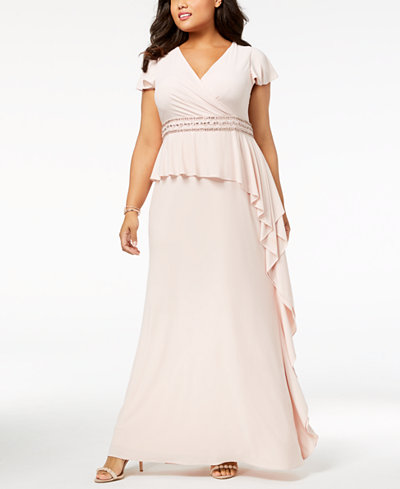 Adrianna Papell Plus Size Ruffled Gown