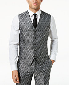 Tallia Orange Men's Modern-Fit Black Medallion Suit Vest