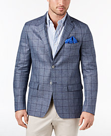 CLOSEOUT! Lauren Ralph Lauren Men's Classic-Fit Ultraflex Stretch Blue Windowpane Linen Sport Coat