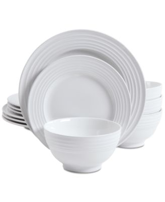 Product Details. Embossed with concentric flair Gibsonu0027s Plaza Cafe White dinnerware ...  sc 1 st  Macyu0027s & Gibson Plaza Cafe White 12-Pc. Dinnerware Set - Dinnerware - Dining ...