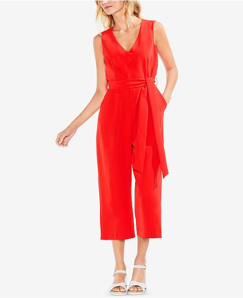 87efd4d82590 Vince Camuto Sleeveless Belted Wide-Leg Jumpsuit   Reviews - Pants ...