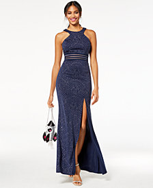 City Studios Juniors' Glitter Illusion Gown, Created for Macy's