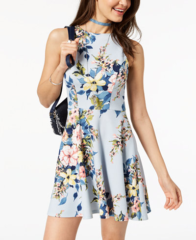 Speechless Juniors' Floral-Print Cage-Back Dress, Created for Macy's