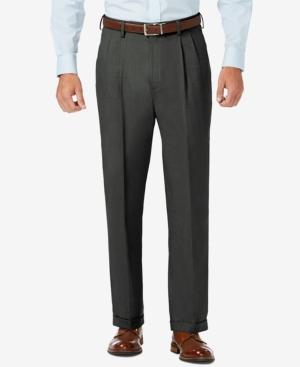 Sharkskin Classic-Fit Pleated Hidden Expandable Waistband Dress Pants