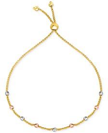 Tricolor Bead Bolo Bracelet in 10k Gold, White Gold & Rose Gold