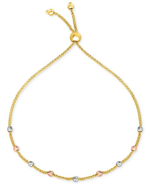 Macy's Tricolor Bead Bolo Bracelet in 10k Gold, White Gold & Rose Gold
