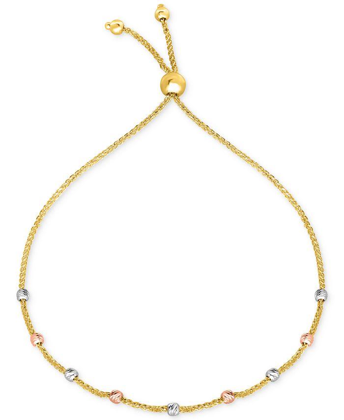 Macy's - Tricolor Bead Bolo Bracelet in 10k Gold, White Gold & Rose Gold