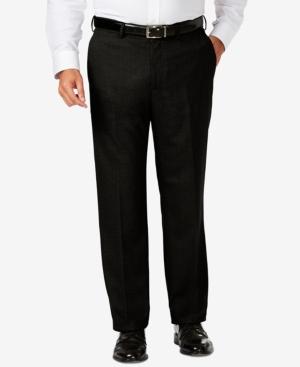 Big & Tall Classic Fit Stretch Sharkskin Flat Front Dress Pants