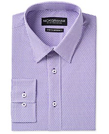 Men's Slim-Fit Stretch Easy-Care Tile Print Dress Shirt