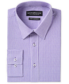 Nick Graham Men's Slim-Fit Stretch Easy-Care Tile Print Dress Shirt