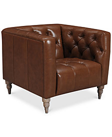 "CLOSEOUT! Tosi 34""  Leather Armchair, Created for Macy's"