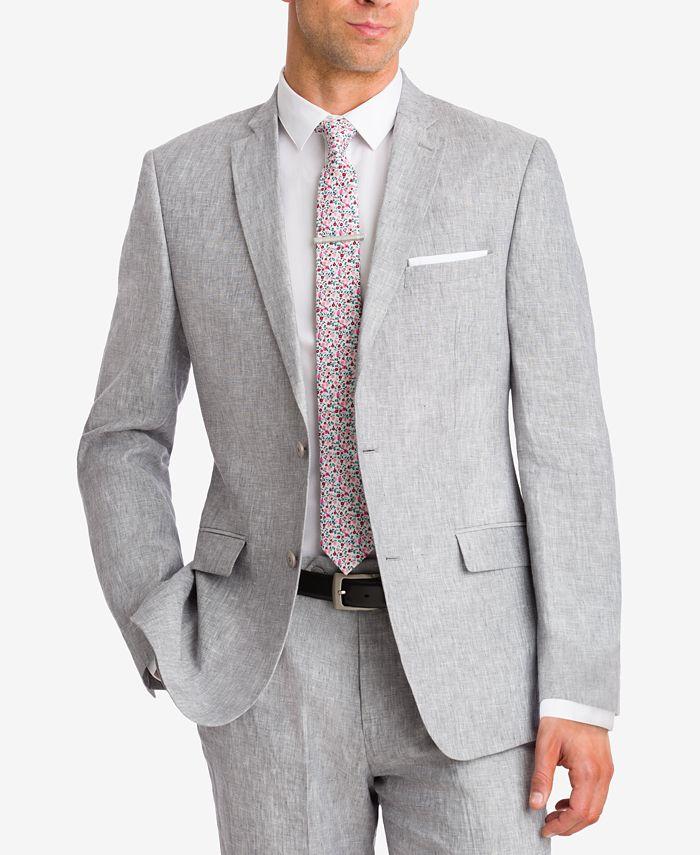 Bar III - Light Gray Chambray Slim-Fit Jacket