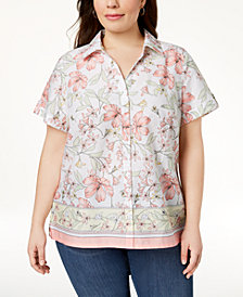 Karen Scott Plus Size Cotton Printed Shirt, Created for Macy's