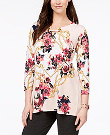 JM Collection Printed Split-Neck Tunic, Created for Macy's
