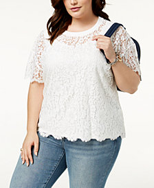 Tommy Hilfiger Plus Size Lace T-Shirt, Created for Macy's