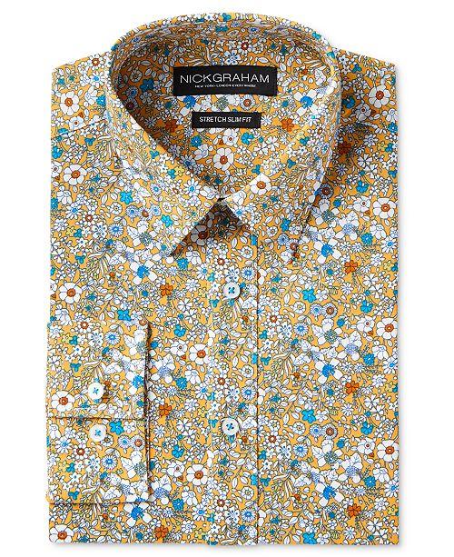 c1ad575fffb1 Nick Graham Men s Slim-Fit Stretch Easy-Care Floral Print Dress Shirt
