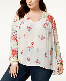 Lucky Brand Trendy Plus Size High-Low Peasant Tunic