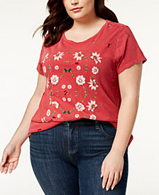 Lucky Brand Trendy Plus Size Cotton Distressed T-Shirt